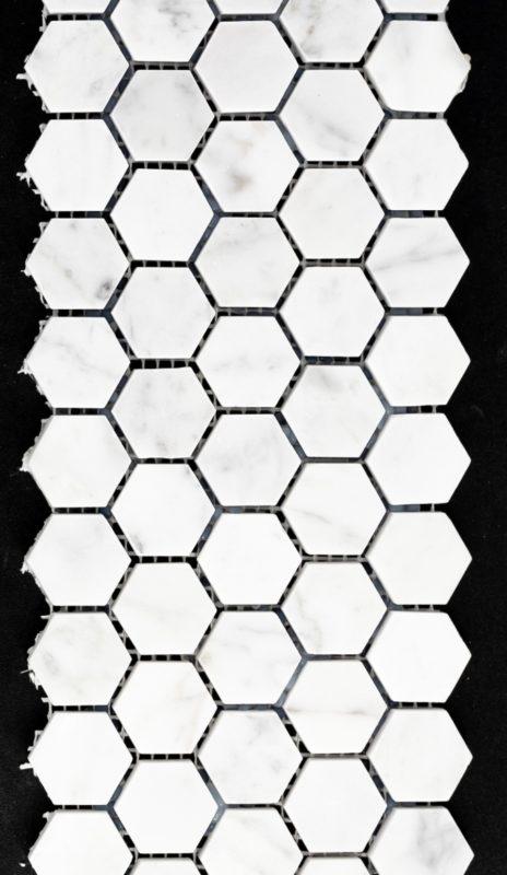 "1"" Hexagon Bianco Carrara"