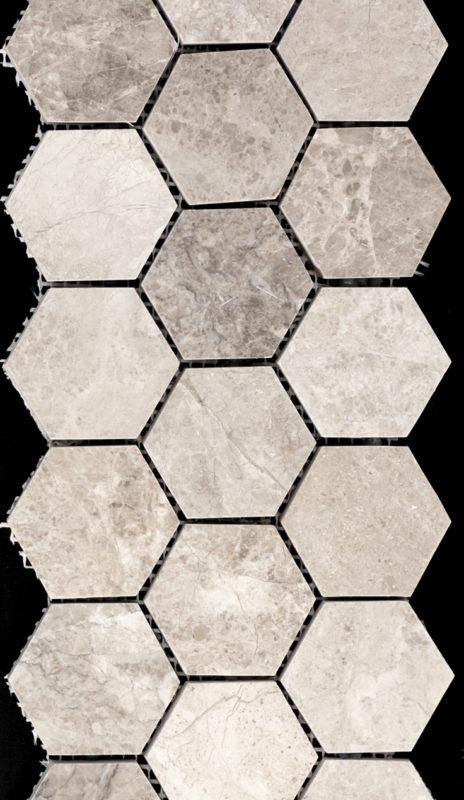 "2"" Hexagon Gray Marble"